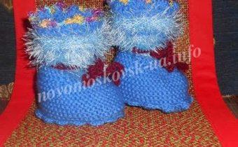 пинетки сапожки спицами с описанием